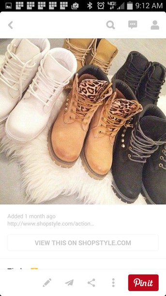 shoes timberlands boots white leapord print studded