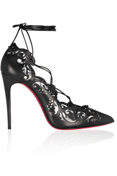 christian louboutin impera laser-cut leather and pvc pumps