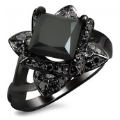 jewels,engagement ring,evolees.com,BEAUTIFUL 1.5CT PRINCESS CUT BLACK DIAMOND LOTUS FLOWER ENGAGEMENT RING IN SILVER,princess cut black diamond engagement ring,lotus flower engagement ring