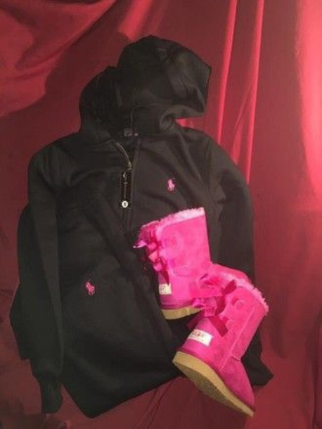 sweater pink and black polo sweatsuit