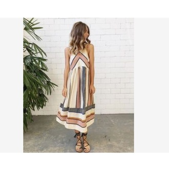 dress boho pastel midi dress striped dress