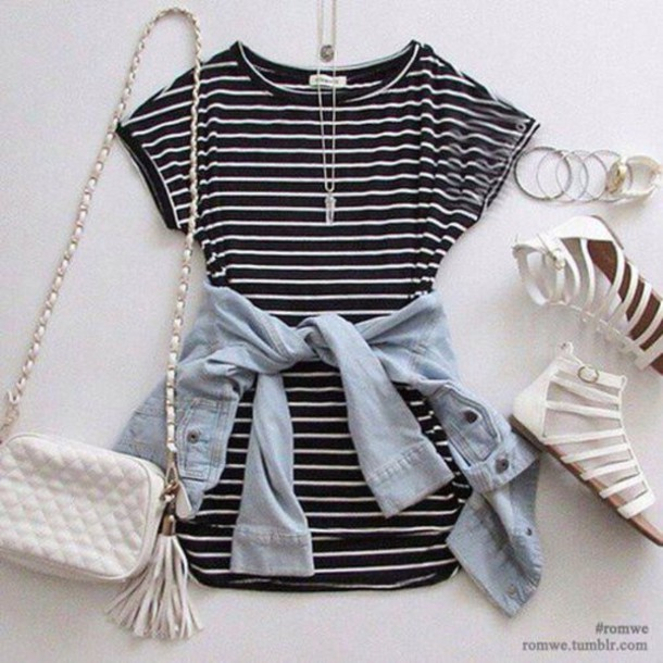 dress stripes striped dress blouse black and white dress style cute dress  denim jacket casual black 4641388f7