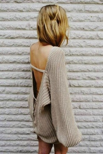 dress sweater dress backless dress oversized sweater winter swag knitted dress