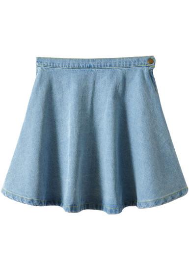 denim skater skirt light blue