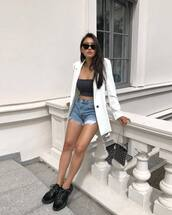 jacket,white blazer,top,crop tops,short,sunglasses,abg,bag,shoes,blazer