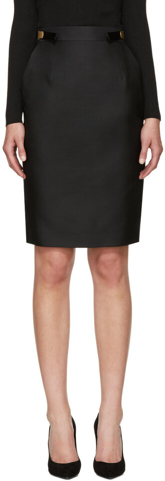 skirt black silk wool