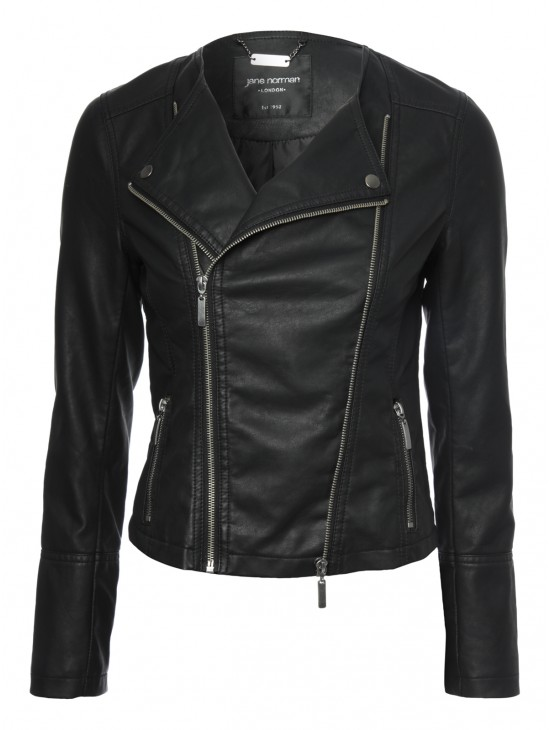 Womens PU Collarless Biker Jacket  | Jane Norman