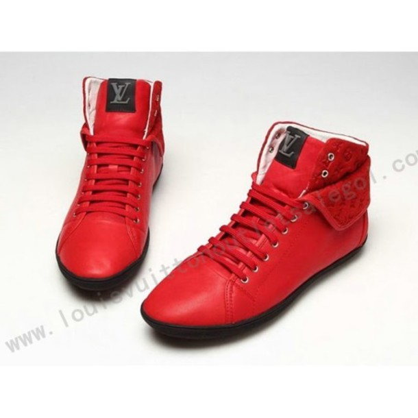 shoes louis vuitton red high top sneakers leather