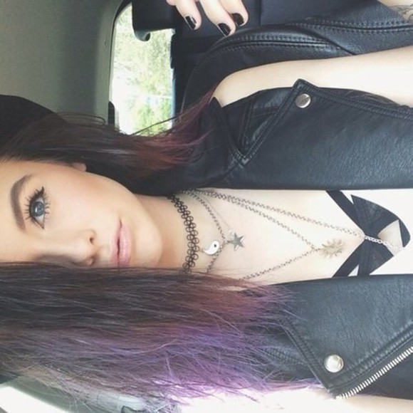 top acacia brinley leather jacket black and white choker necklace