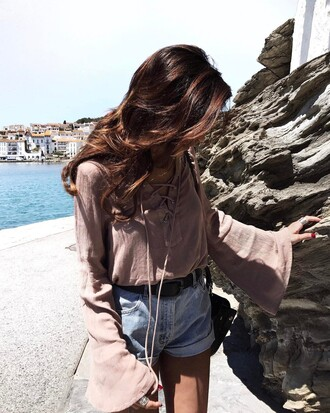 top tumblr nude top bell sleeves belt shorts denim denim shorts lace up lace up top