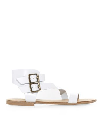 White Leather Asymmetric Strap Double Buckle Sandals