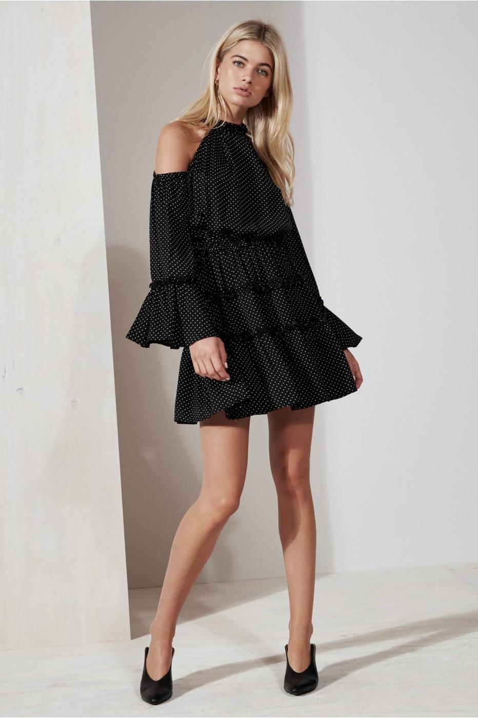 THE FIFTH BANJO POLKA DOT DRESS black w white