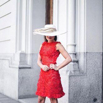 dress tumblr floral dress red dress mini dress floral hat sun hat classy feminine sleeveless sleeveless dress