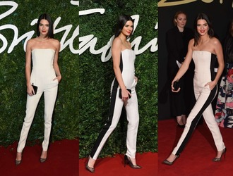 jumpsuit pants kendall jenner white strapless black and white