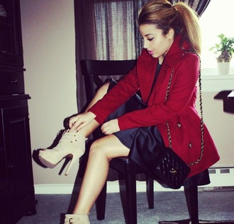 coat solid solid color burgandy jacket burgundy coat tan heels little black dress shoes
