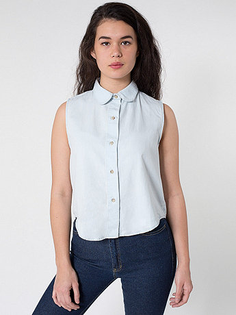 Denim Sleeveless Crop Button-Up | American Apparel