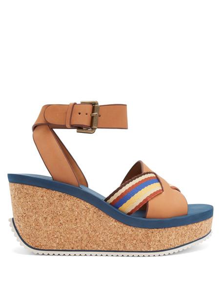 sandals platform sandals leather tan shoes