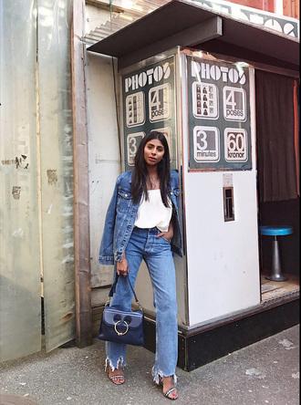 jeans tumblr blue jeans denim sandals sandal heels high heel sandals bag blue bag t-shirt white t-shirt denim jacket jacket shoes