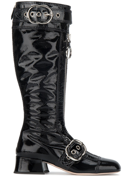 Miu Miu high women knee high knee high boots leather black shoes
