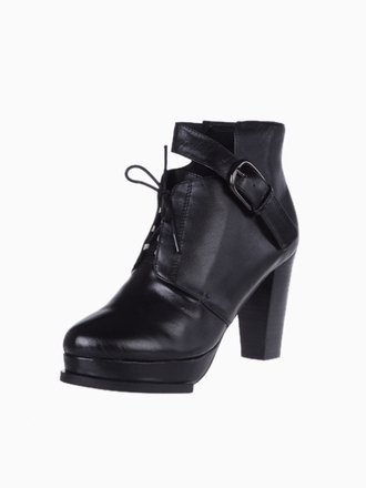 shoes lace winter outfits martin boots high-heeled metal buckle