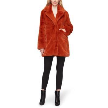 Sam Edelman Faux Fur Notch Collar Coat Cognac