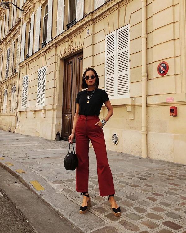 pants red pants wide-leg pants shoes sandals bag bag sunglasses top t-shirt black t-shirt