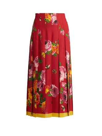skirt pleated skirt pleated rose print silk wool red
