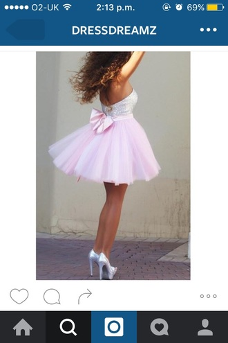 dress sweetheart neckline dress pink and glitter with bow