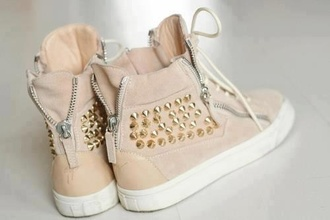 shoes tan sneakers spiked zip