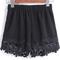 Black elastic waist floral crochet shorts -shein(sheinside)