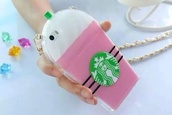 phone cover,phone,iphone,iphone case,starbucks coffee,pink,pink starbucks,starbucks phone case