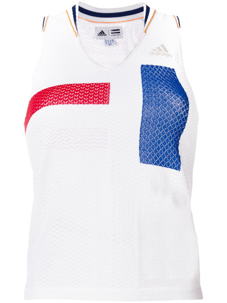Adidas - coloublock design tank top - women - Polyester/Wool - S, White, Polyester/Wool