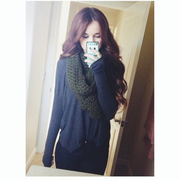 shirt grey shirt black scarf acacia clark adventure time phone case curled hair beautiful olive dark green sweater