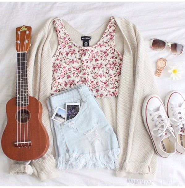 shorts blue shorts floral tank top white top pink top converse top