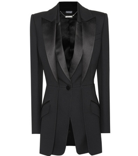 Alexander McQueen Wool and silk-blend blazer in black