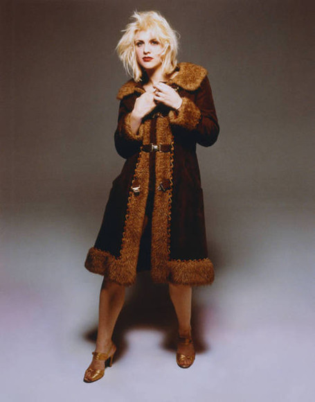 autumn, winter coat brown faux fur jacket long courtney love grunge