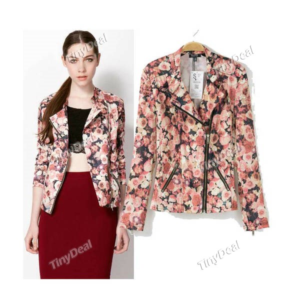 Casual Floral Printing Coats Fashion Retro Style Suit for Women