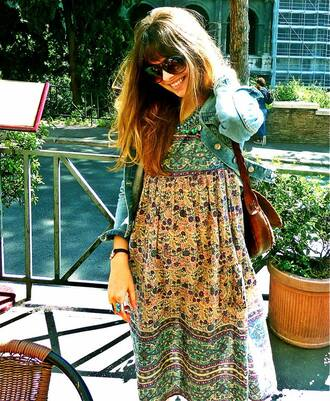 dress clothes hobo ethnic cool girl style long dress hippie summer dress pattern beaded yellow green floral indie boho