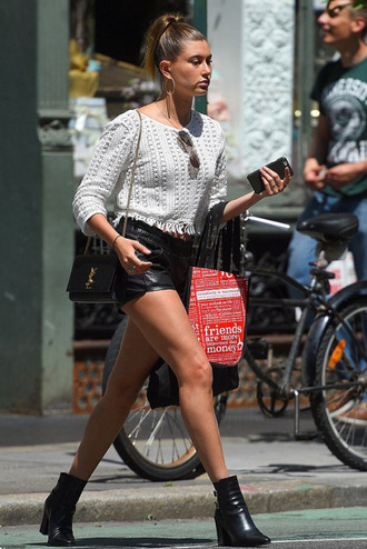 sweater top shorts hailey baldwin sunglasses ankle boots
