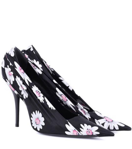 Balenciaga pumps floral satin black shoes