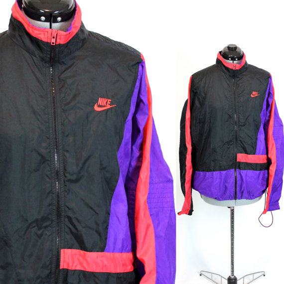 Vintage Nike Black Pink and Purple Windbreaker Jacket Large 123dd58a9