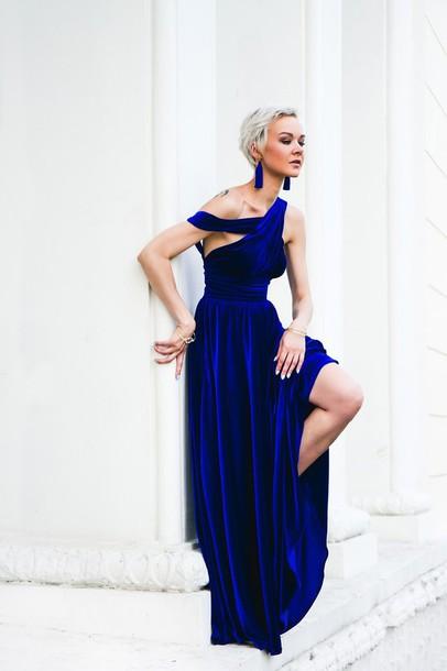 Gvozdishe Blogger Dress Jewels Shoes Velvet Dress Velvet Blue