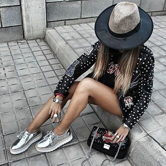 shoes tumblr silver shoes flats hat jacket studded jacket bag embellished bag embellished embellished jacket