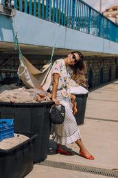 angystearoom,blogger,sunglasses,shirt,bag,ballet flats,tie-front top,maxi skirt