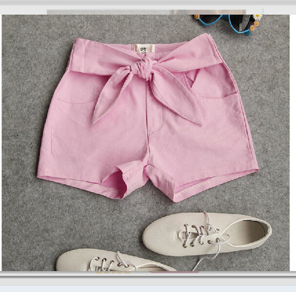 shorts short pink short pink short bow denim shorts summer pink