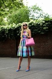atlantic pacific,top,skirt,bag,sunglasses,jewels,dress,tartan dress,plaid dress