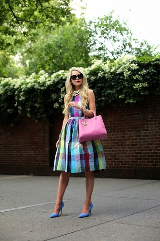 atlantic pacific top skirt bag sunglasses jewels dress tartan dress plaid dress