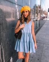 dress,mini dress,ruffle dress,sleeveless dress,shoulder bag,beret,turtleneck,boots