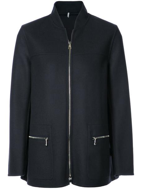 moncler jacket women fit blue wool