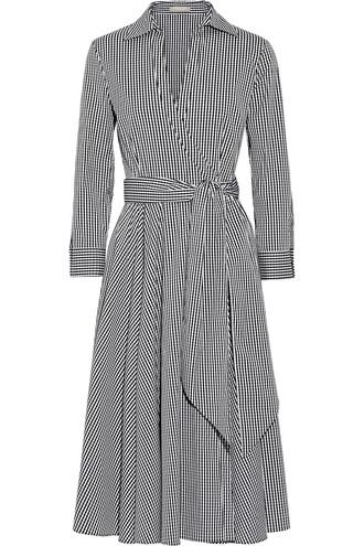 dress wrap dress cotton gingham black
